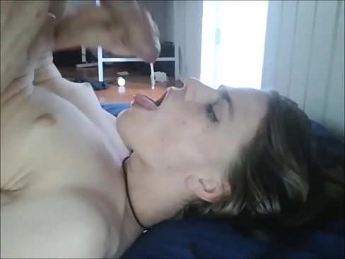 Teen cums on her own face