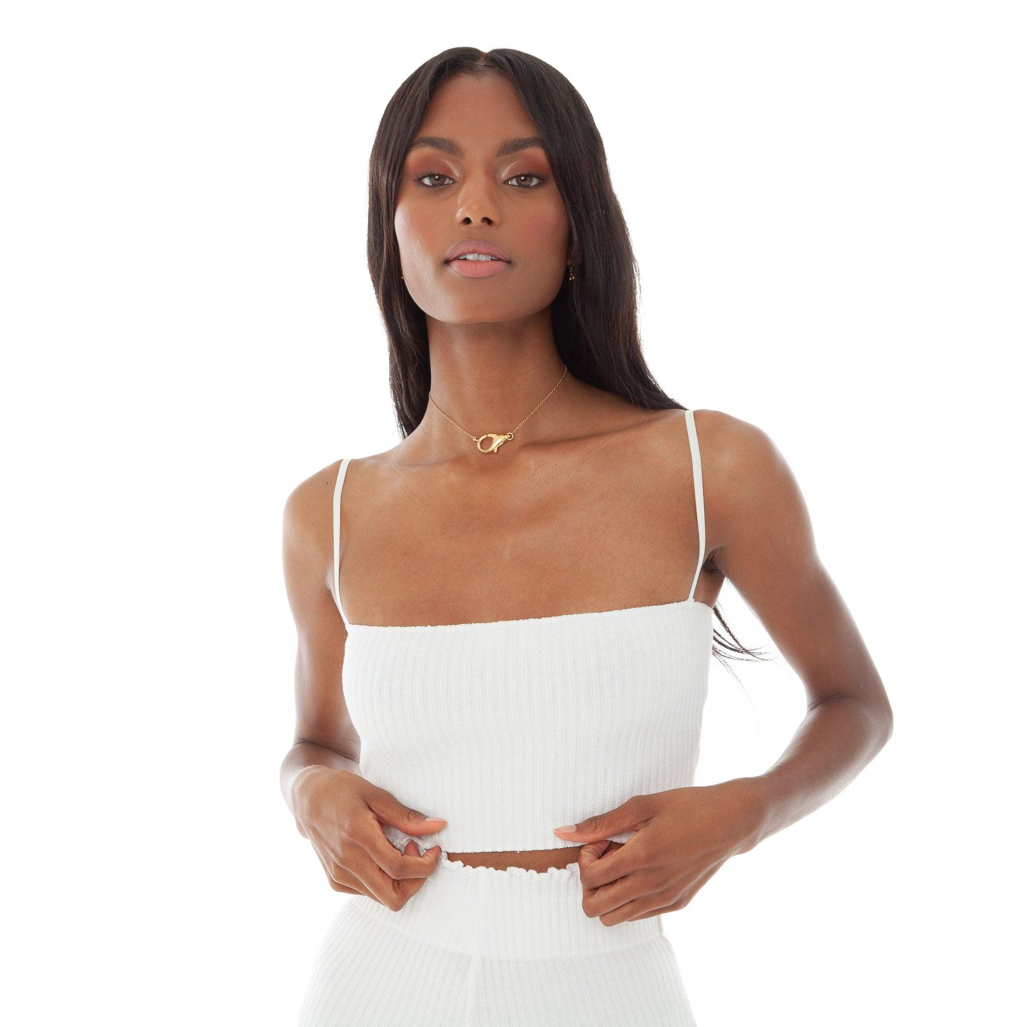 Minka in white lingerie