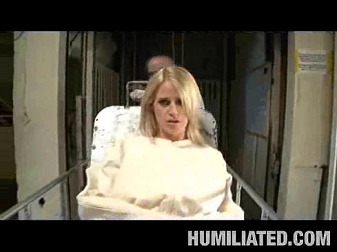 Pretty brunette in straitjacket taped mouth forced tied