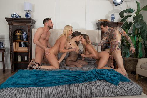 Lesbian orgy in a steamy shower orgy porn