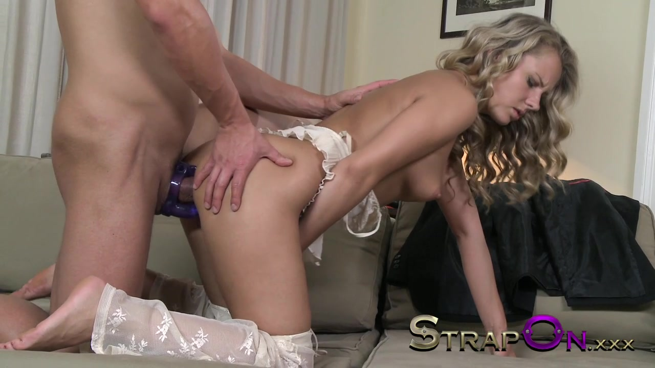 Strapon beautiful girl in white lace anal from cock