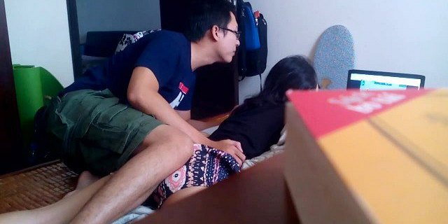 Guy fucking horny asian while driving